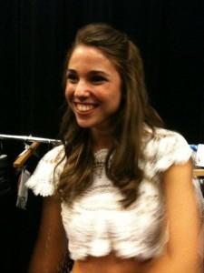 Katya looking beautiful in the crochet blouse.