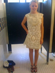 Dekoa in Lace Dress at the fitting